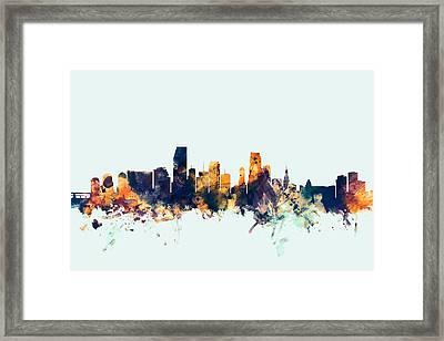 Miami Florida Skyline Framed Print