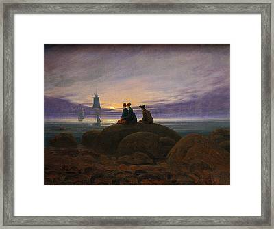 Moonrise Over The Sea Framed Print by Caspar David Friedrich
