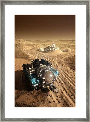 Framed Print featuring the digital art Mars Exploration Vehicle by Bryan Versteeg
