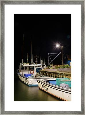 Framed Print featuring the photograph Nightime On The Wharf. by Rob Huntley