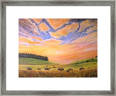 O Give Me A Home Where The Buffalo Roam Framed Print by Connie Tom