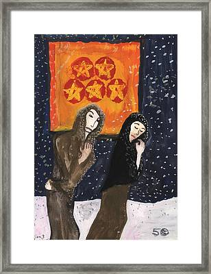 5 Of Pentacles Illustrated Framed Print by Sushila Burgess
