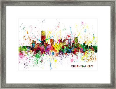 Oklahoma City Skyline Framed Print by Michael Tompsett