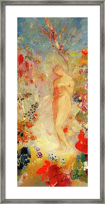 Framed Print featuring the painting Pandora by Odilon Redon