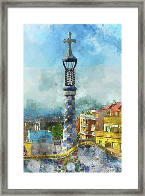 Parc Guell In Barcelona Spain Framed Print by Brandon Bourdages
