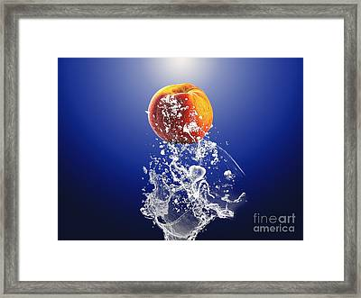 Peach Splash Framed Print by Marvin Blaine