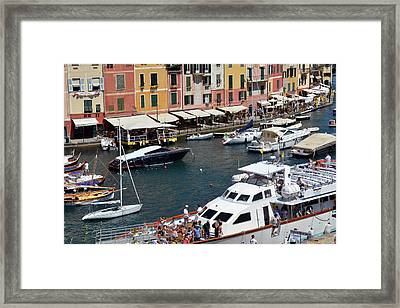 Photography Of The Beautiful Portofino Fishing Village In Italy. Aerial View On Small Bay And Colorf Framed Print by Oana Unciuleanu