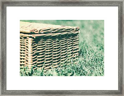 Picnic Basket Hamper With Leather Handle In Green Grass Framed Print by Radu Bercan