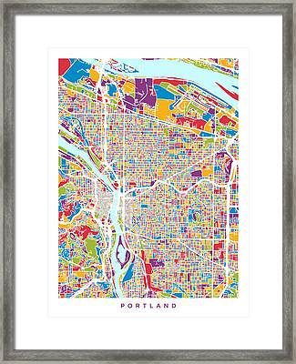 Portland Oregon City Map Framed Print by Michael Tompsett