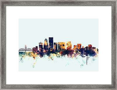 Portland Oregon Skyline Framed Print by Michael Tompsett