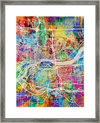 Quad Cities Street Map Framed Print