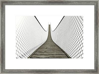Rope Bridge On White Framed Print