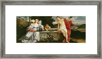 Sacred And Profane Love Framed Print by Titian