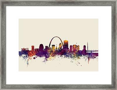 St Louis Missouri Skyline Framed Print by Michael Tompsett