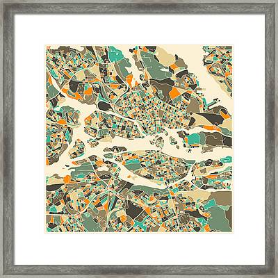 Stockholm Map Framed Print by Jazzberry Blue