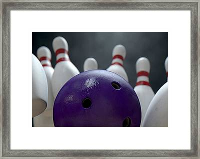 Ten Pin Bowling Pins And Ball Framed Print