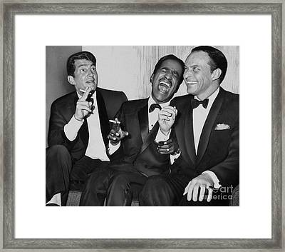 The Cast Of Ocean's 11 And Members Of The Rat Pack. Framed Print