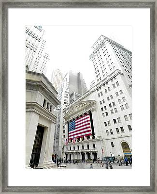 The Facade Of The New York Stock Framed Print by Justin Guariglia