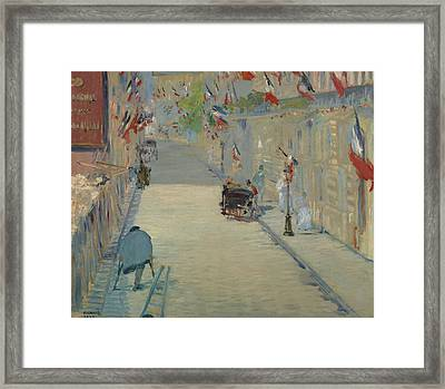The Rue Mosnier With Flags Framed Print by Edouard Manet