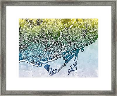 Toronto Street Map Framed Print