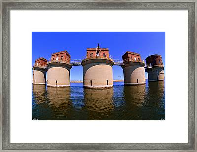 5 Towers At Dreher Shoals Dam On Lake Murray Sc Framed Print by Lisa Wooten