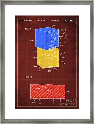 Toy Building Brick Patent Year 1958 Blueprint Framed Print by Pablo Franchi