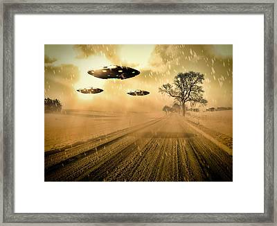 Ufo Invasion Force By Raphael Terra Framed Print by Raphael Terra