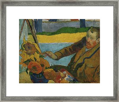 Vincent Van Gogh Painting Sunflowers  Framed Print by Paul Gauguin