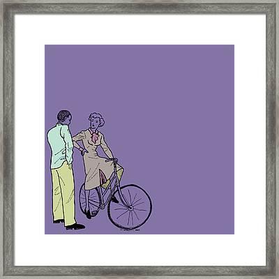 Vintage Bike Couple Framed Print by Karl Addison