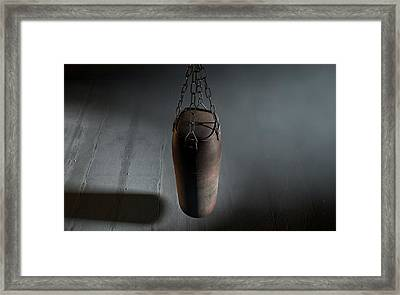Vintage Leather Punching Bag Framed Print