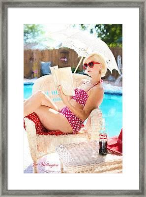 Vintage Val Poolside Framed Print