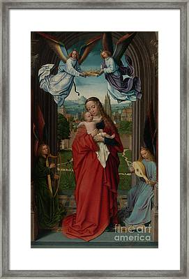 Virgin And Child With Four Angels Framed Print