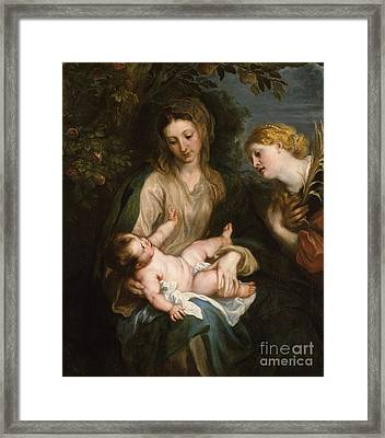 Virgin And Child With Saint Catherine Of Alexandria Framed Print by Anthony Van Dyck