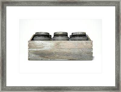 Whiskey Jars In A Crate Framed Print by Allan Swart