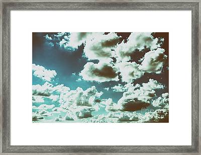 White Cumulus Clouds On Blue Sky Framed Print by Radu Bercan