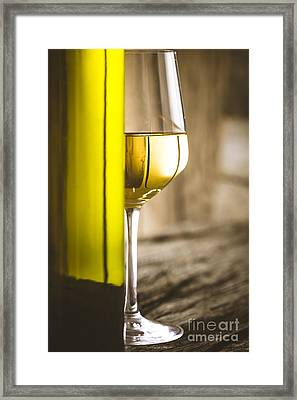 Wine On Wood Framed Print