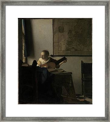 Woman With A Lute Framed Print