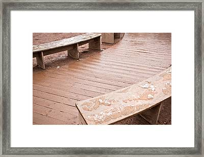 Wooden Benches Framed Print by Tom Gowanlock