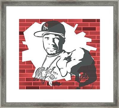 50 Cent Graffiti Tribute Framed Print by Dan Sproul
