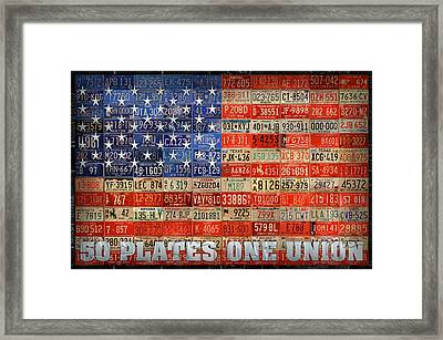 50 Plates One Union Recycled License Plate American Flag Framed Print by Design Turnpike