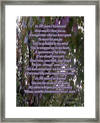 50 Year Anniversary Poem Framed Print