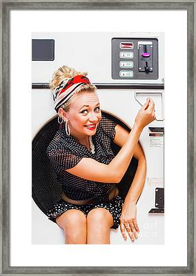 50s Thrifty Cleaning Pinup Framed Print by Jorgo Photography - Wall Art Gallery