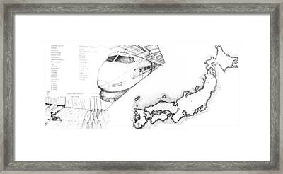 5.1.japan-map-of-country-with-bullet-train Framed Print