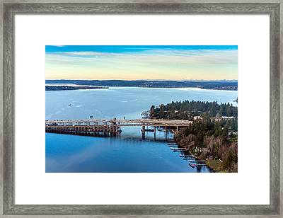 520 Bridge And Mount Baker Framed Print by Mike Reid