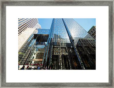 53 State Street Boston Ma Exchange Place Sun Reflection Framed Print by Toby McGuire