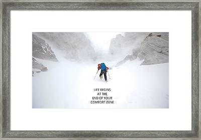 53067 Qutote Motivational Life Begins At The End Of Your Comfort Zone Framed Print by F S