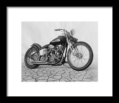 Harley Davidson Black And White Framed Prints