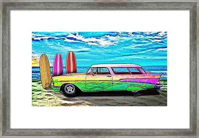 57 Chevy Nomad Wagon Best Part Of Waking Up Framed Print