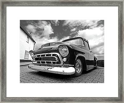57 Stepside Chevy In Black And White Framed Print