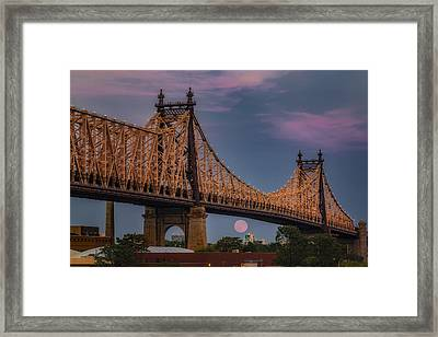 59 Street Queensboro Bridge Full Moon Framed Print